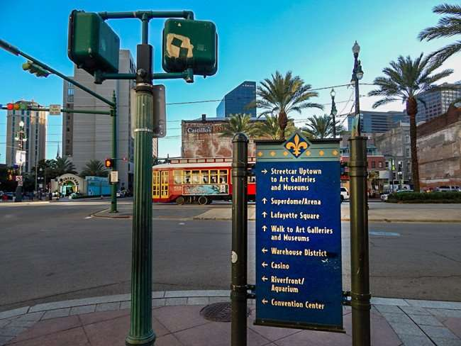 SEPT 13, 2015 - Sign on Sidewalk with arrows pointing to major attractions in in New Orleans/photonews247.com
