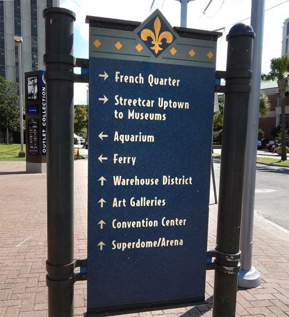 SEPT 14, 2015 - Sign with arrows help direct visitors to main attractions, Ferry, Art Galleries, Superdome Arena in New Orleans, LA/photonews247.com