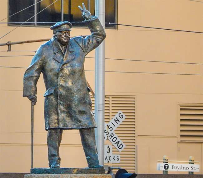 SETP 14, 2015 - Sir Winston Churchill statue at Poydras St Streetcar stop at Hilton New Orleans Riverside/photonews247.com