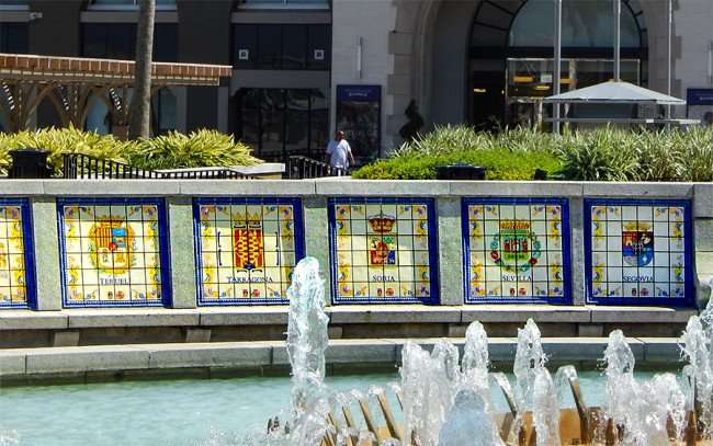 SEPT 14, 2015 - Spanish cities - Teruel, Tarragona, Soria, Sevilla, Segovia in tile work on fountain at New Orleans Riverwalk/photonews247.com