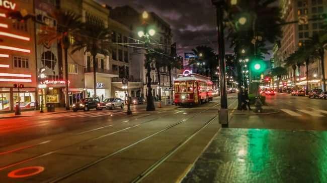 Jan 9, 2017 - Street Cars at night on Canal Street, New Orleans, LA/photonews247.com