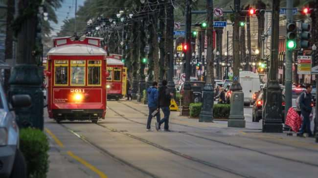 Jan 9, 2017 - Street Cars before night fall with lights on Harrah's RTA 2011, Canal Street, New Orleans, LA/photonews247.com