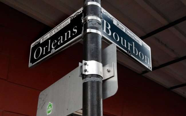SEPT 14, 2015 - Street sign Orleans Steet (Rue D Orleans) and Bourbon Street (Rue Bourbon), French Quarter/photonews247.com