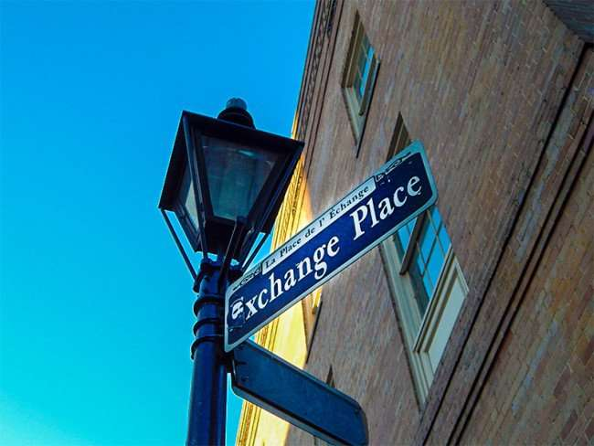 SEPT 13, 2015 - Street sign for Exchange Place Street (French - La Place de L Echange) New Orleans, LA/photonews247.com