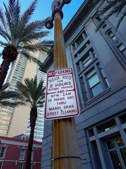 mardi gras parade route signs posted year round on canal