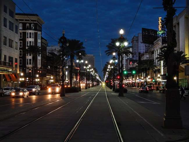 NOV 19, 2015 - Streetcar tracks in middle of Canal Street at dawn in New Orleans, LA/photonews247.com