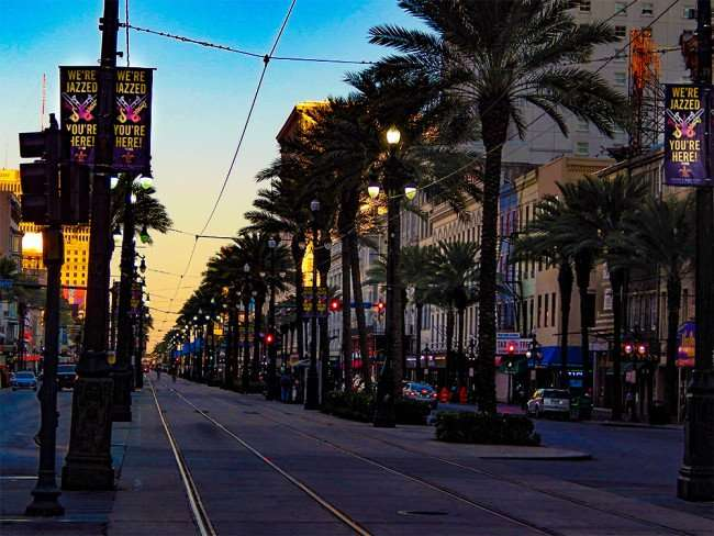 SEPT 14, 2015 - Streetcar tracks running down the middle of Canal Street in New Orleans, LA/photonews247.com