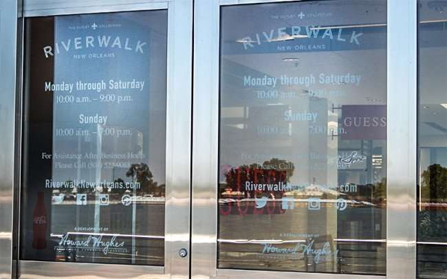 SEPT 14, 2015 - The Outlet Mall Riverwalk entrance doors along the Mississippi in New Orleans, LA/photonews247.com