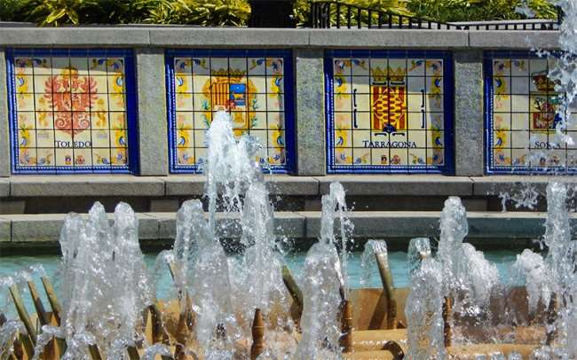SEPT 14, 2015 - Water fountain with Spanish cities with coat of arms symbols at New Orleans Rivewalk/photonews247.com
