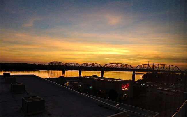 OCT 11, 2015 - A view of Ohio River at sunset from Harrahs Hotel in Metropolis Illinois/photonews247.com