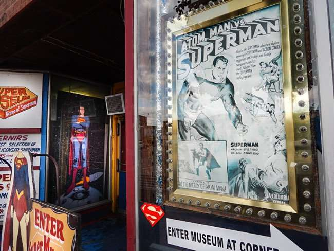 OCT 6, 2015 - ATOM VS SUPERMAN poster in window at Super Museum, Metropolis, Illinois/photonews247.com