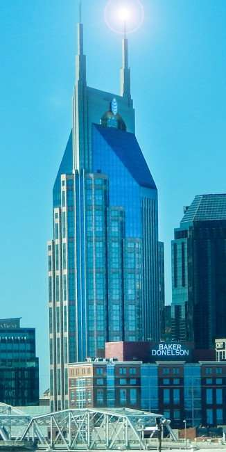 OCT 6, 2015 - ATT Batman building with lens flare at top in Nashville, TN/photonews247.com