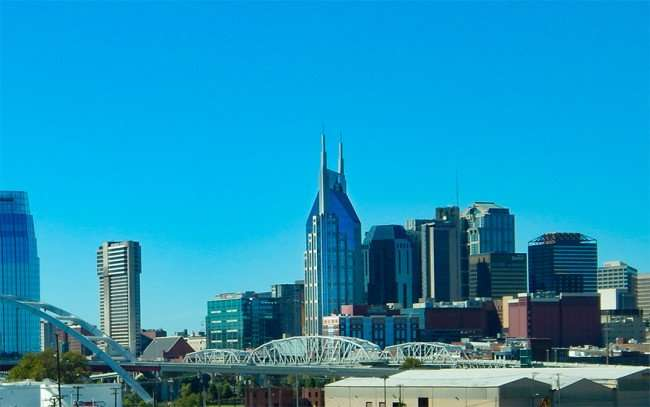 OCT 6, 2015 - Batman (ATT) in center of Nashville Tn skyline/photonews247.com