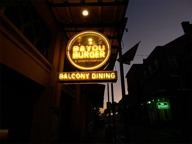 SEPT 14, 2015 - Bayou Burger Sports Bar Balcony Dining, Bourbon Street, New Orleans, LA/photonews247.com