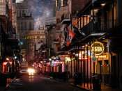 SEPT 14, 2015 - Bayou Burger Sports Bar features balcony dining, Bourbon Street, New Orleans, LA/photonews247.com