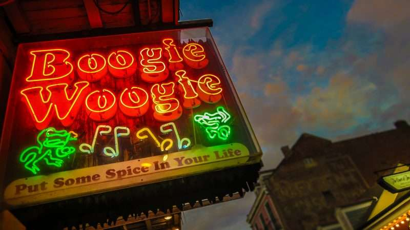 Jan 9, 2017 - Boogie Woogie neon sign, Bourbon St, New Orleans, LA/photonews247.com