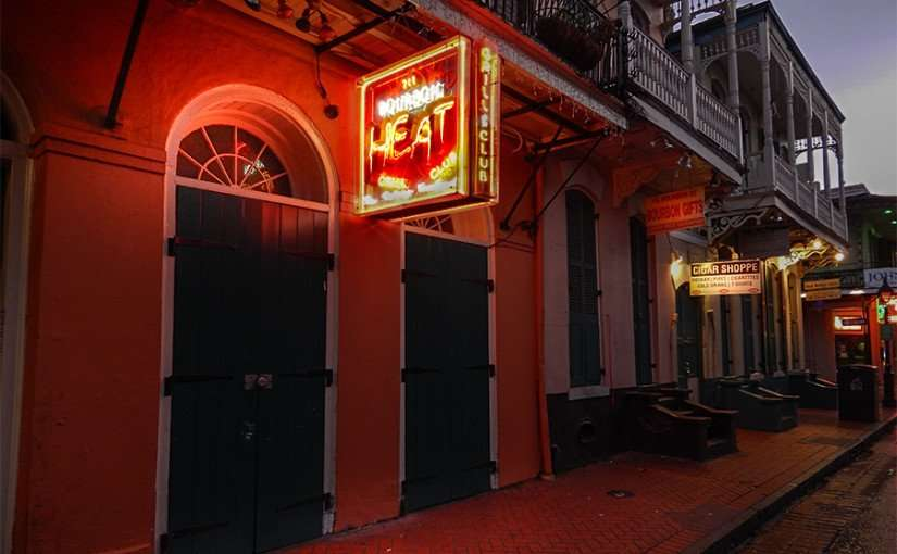 NOV 14, 2015 - Bourbon Heat Night Club front doors shut on Bourbon Street in New Orleans/photonews247.com
