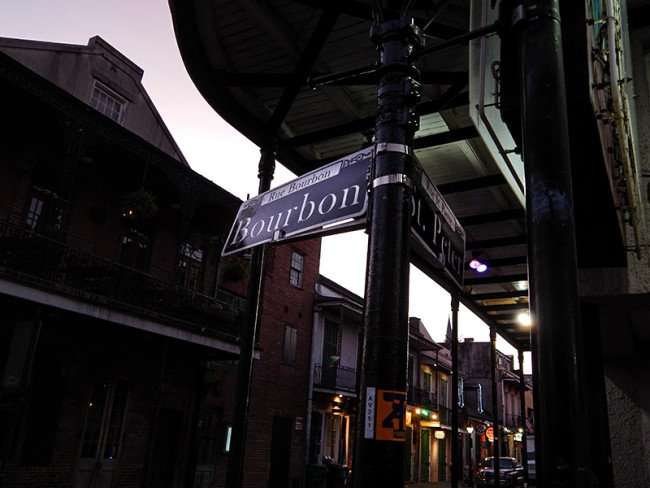 SEPT 14, 2015 - Bourbon St and St Peter St steet signs/photonews247.com