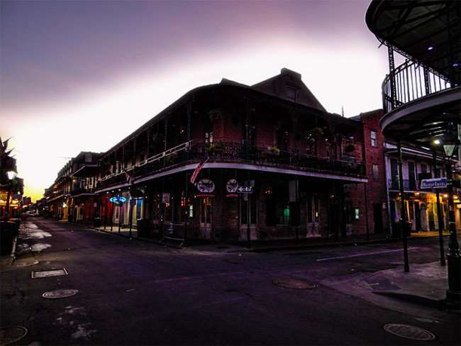 SEPT 14, 2015 - Bourbon Street morning no people or cars in French Quarter, New Orleans, LA/photonews247.com
