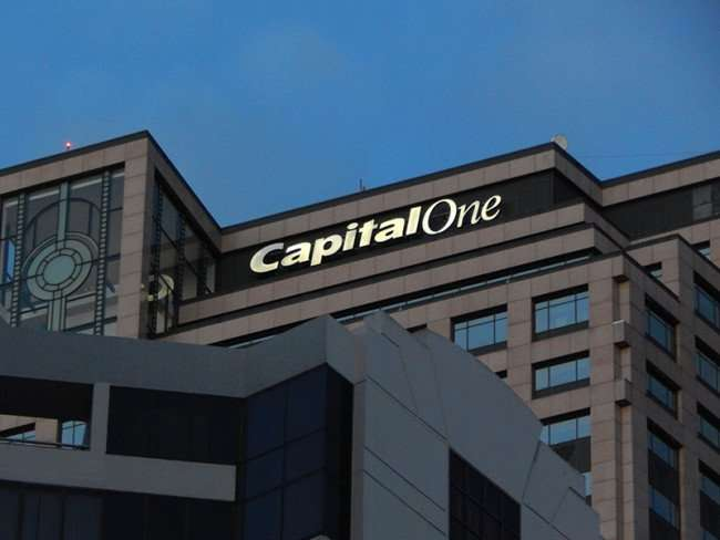 NOV 19, 2015 - Capital One logo on top of building taken at dawn from Canal Street in New Orleans, LA/photonews247.com