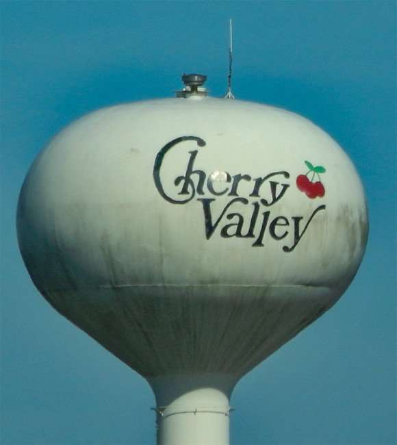 OCT 10, 2015 - Cherry Valley Water Tower from Hwy 39 in Illinois/photonews247.com