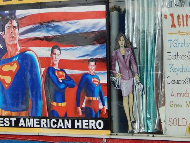 OCT 6, 2015 - Christoper Reeves (L) George Reeves (R) on mural at Superman Museum, Metropolis, Illinois/photonews247.com