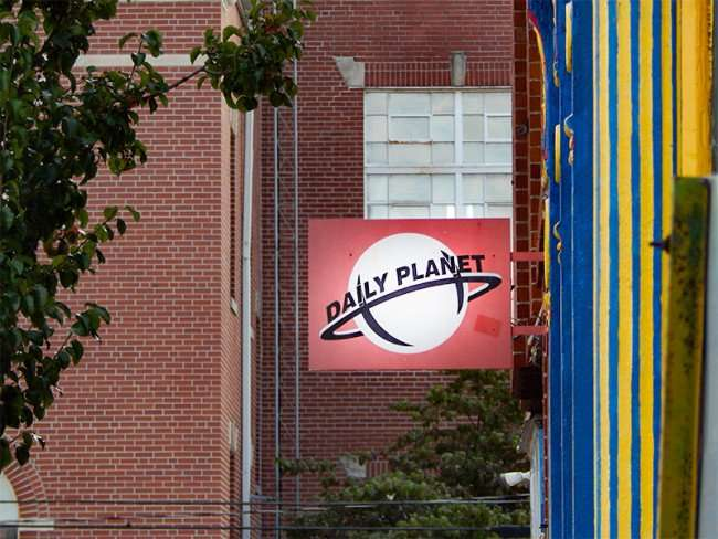 OCT 6, 2015 - DAILY PLANET NEWSPAPER sign on Superman Museum, Metropolis, Illinois/photonews247.om