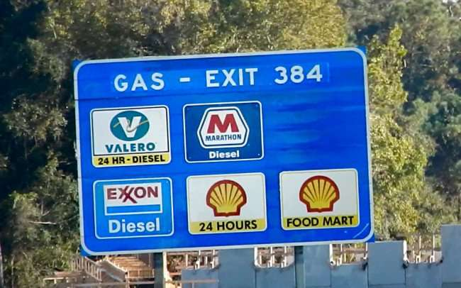 OCT 14, 2015 - Exit 384 sign at Bass Pro Shops construction site along Interstate 75, Gainesville, FL/photonews247.com