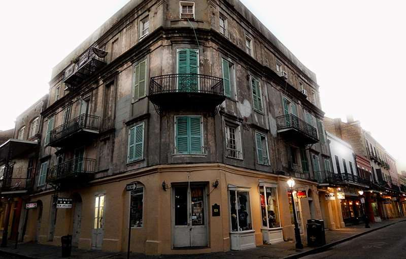 SEPT 14, 2015 - Four story building where N'awlins Jerky Brothers shop resides on the corner of Royal and St Pete Street in the French Quarter in New Orleans, LA.