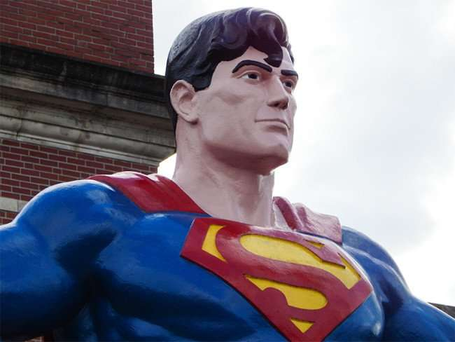 OCT 6, 2015 - Giant Superman statue close up in Metropolis, Illinois/photonews247.com