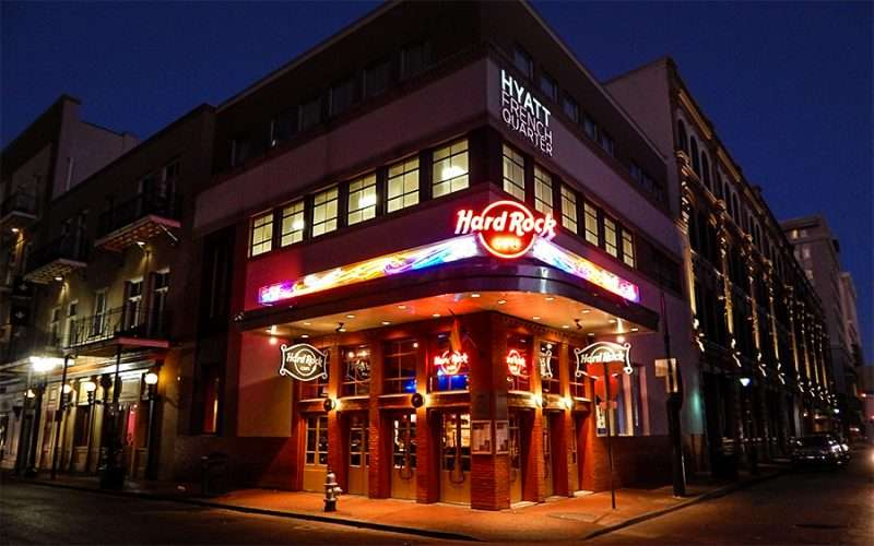 SEPT 14, 2015 - Hard Rock Cafe and Hyatt French Quarter Hotel share building on corner of Bourbon ST and Iberville St/photonews247.com