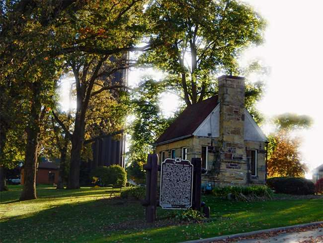 OCT 10, 2015 - Historic welcome building at park in Mineral Point WI/photonews247.com