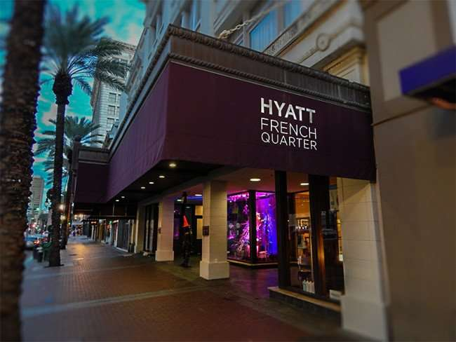 NOV 19, 2015 - Hyatt French Quarter from sidewalk along Canal Street, New Orleans, LA/photonews247.com