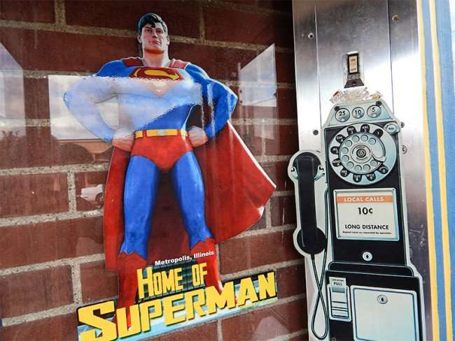 OCT 6, 2015 - Inside Superman's phone booth in Metropolis, Illinois/photonews247.com