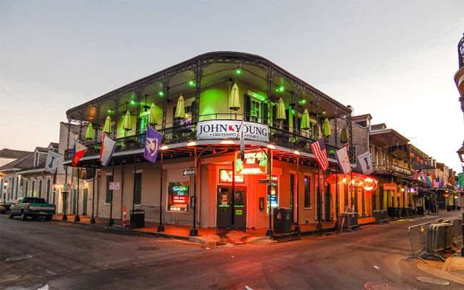 SEPT 14, 2015 - John Young banner of the Tropical Isle Original bar in French Quarter on 600 Bourbon St, New Orleans, LA/photonews247.com