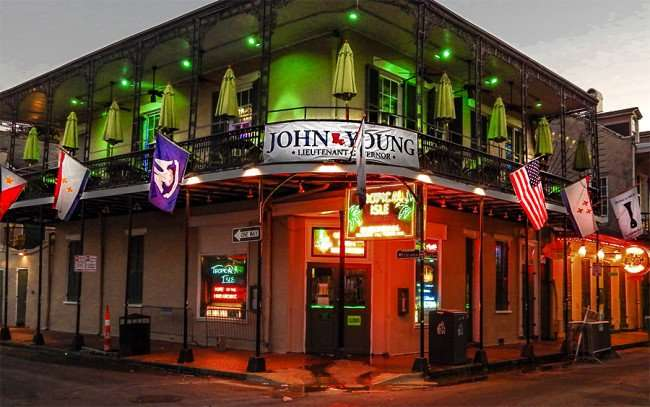 SEPT 14, 2015 - John Young banner of the Tropical Isle Original bar in French Quarter on Bourbon St, New Orleans, LA/photonews247.com
