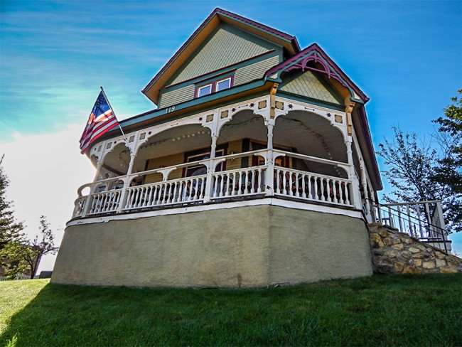OCT 10, 2015 - Kristis Restaurant in Victorian home with front porch in New Glarus, WI/photonews247.com