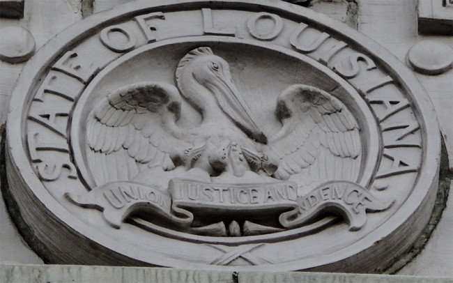 SEPT 14, 2015 - Louisiana Seal in concrete on Louisiana State Court of Appeal Fourth Circuit building on Royal Street in New Orleans, LA/photonews247.com