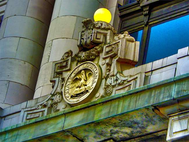 SEPT 14, 2015 - Louisiana State Seal on State Court of Appeals building on Royal St in New Orleans, LA/photonews247.com