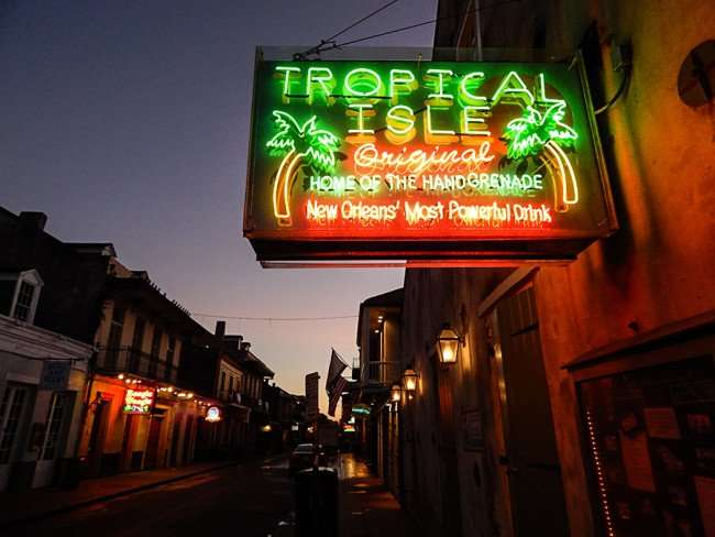 SEPT 14, 2015 - Neon sign of Tropical Isle Original Home of the Hand Grenade drink, Bourbon Street, New Orleans/photonews247.com