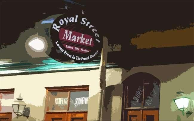 SEPT 14, 2015 - Painting of Royal Street Market, French Quarter, New Orleans, LA/photonews247.com
