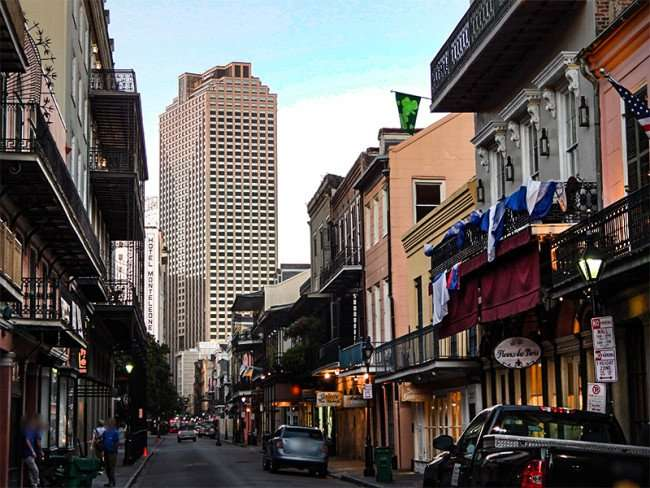 SEPT 14, 2015 - Place St Charles Capital One building/skyscraper from the French Quarter on Royal Street in New Orleans, LA/photonews247.com