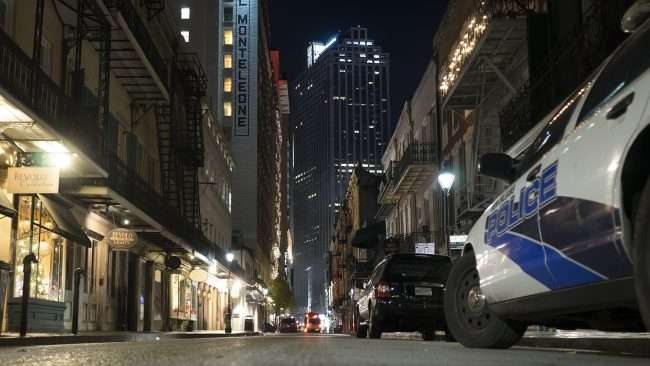 Dec 21, 2017 - Royal Street with Hotel Monteleon, Bevolo and Capital One building in middle background in New Orleans, LA/photonews247.com