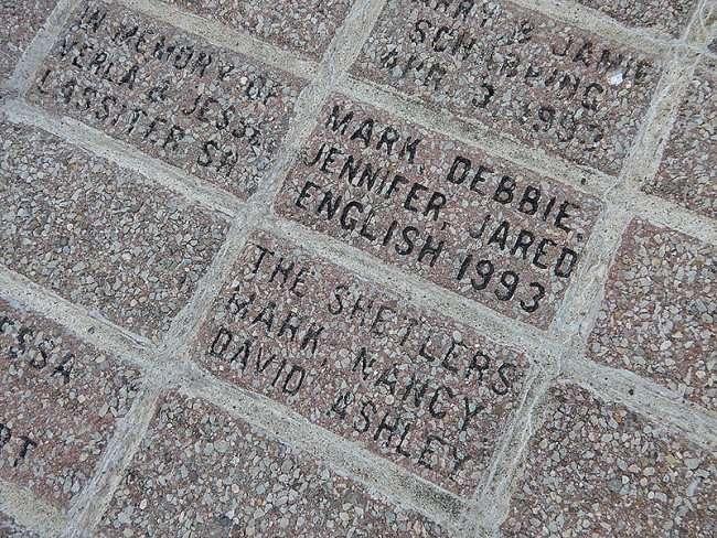 OCT 6, 2015 - Sponsored and memorial bricks at base of Superman statue in Metropolis, Illinois/photonews247.com
