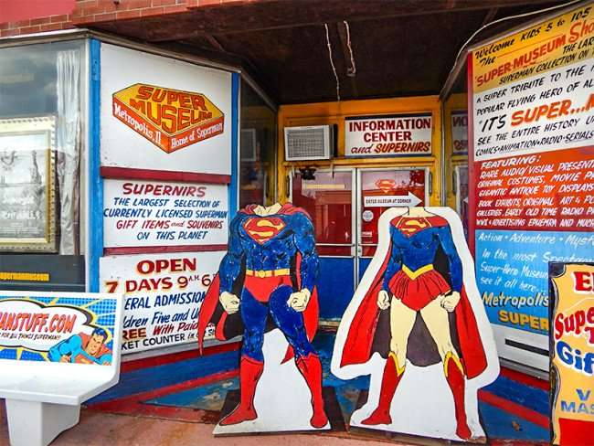 OCT 6, 2015 - Super Museum with Superman and Superwoman with heads for visitors to pose, Metropolis, Illinois/photonews247.com