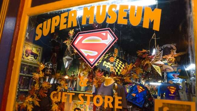 Oct 7, 2017 - Superman Gift Shop window display, Market Street, Downtown Metropolis, IL/photonews247.com