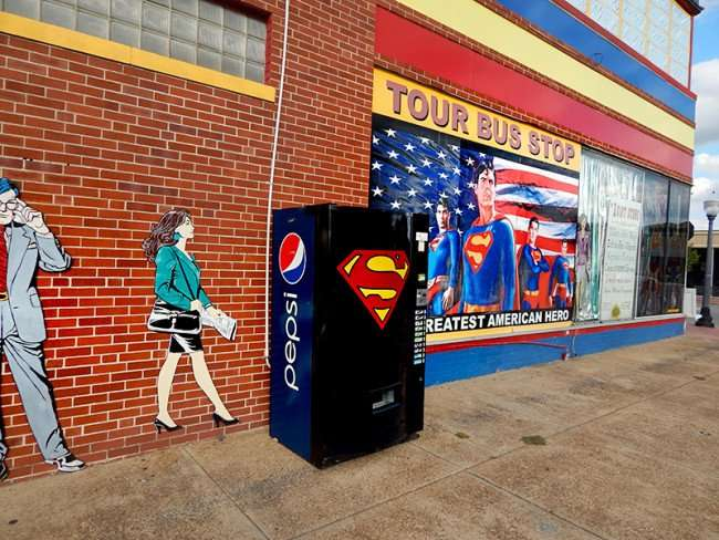 OCT 6, 2015 - Superman Pepsi Machine one-of-a-kind collectable at Superman Museum, Metropolis, ILL/photonews247.com