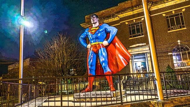 Feb 25, 2017 - Superman Statue with added poster image fileter located in Metropolis IL/photonews247.com