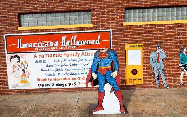 OCT 6, 2015 - Superman body without head, phone booth image next to Clark Kent on Superman Museum Metropolis/photonews247.com