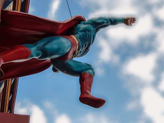 OCT 6, 2015 - Superman in the air at Daily Planet Newspaper museum, Metropolis, Illinois/photonews247.com